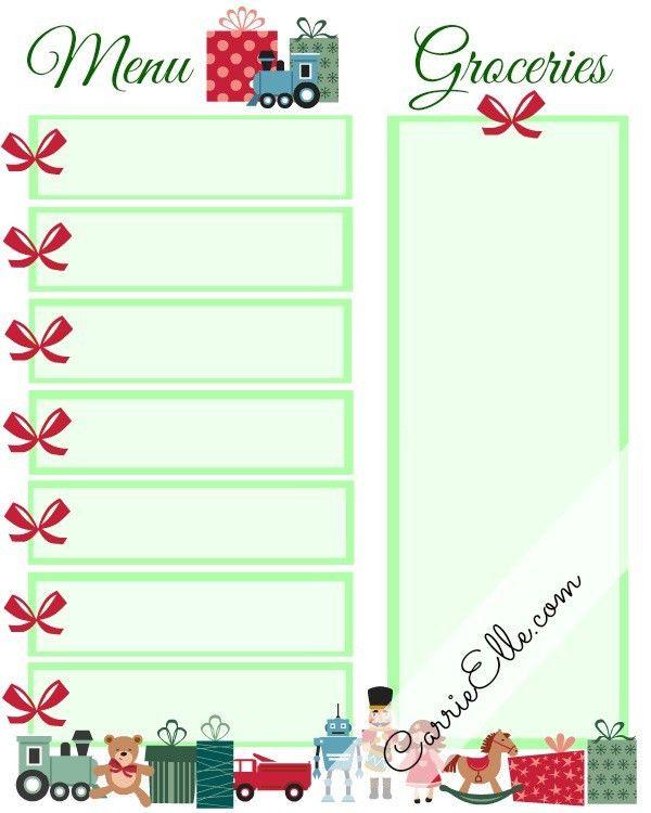 Christmas Meal Planning Printable