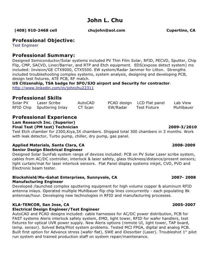 Download Aoc Test Engineer Sample Resume | haadyaooverbayresort.com