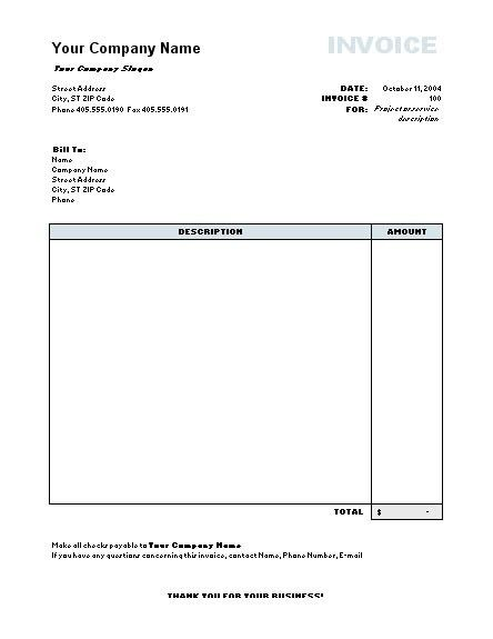 Work Invoice Template Word | invoice example