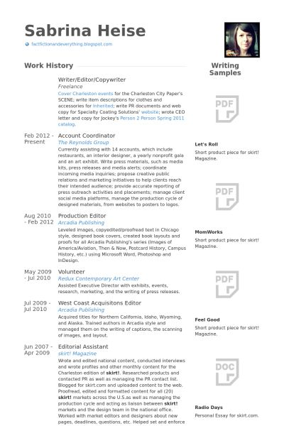 Writer/Editor Resume samples - VisualCV resume samples database