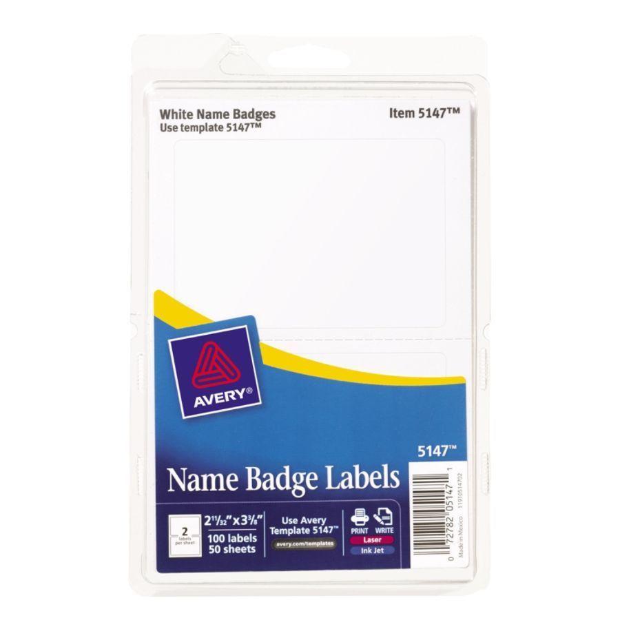 Avery Self Adhesive Name Badges Plain White 2 Labels Per 4 x 6 ...