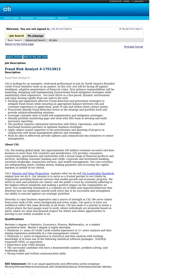 Fraud Risk Analyst 4 job at Citi in Wilmington, DE | Tapwage Job ...