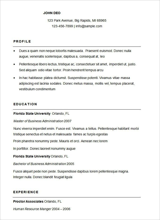 Management Resume Templates. Resume Samples Format | Resume Format ...