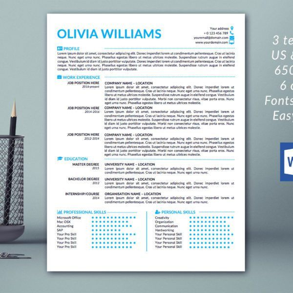 Modern Resume Template / Cover Letter Template / References ...