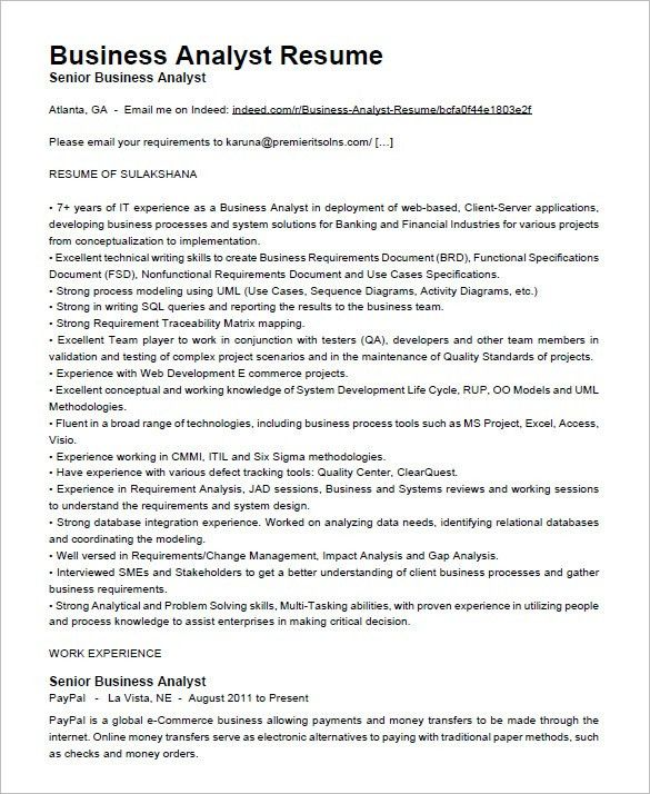 business analyst resume examples - Template