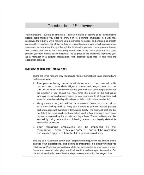 employee termination letter the employee termination letter is a ...