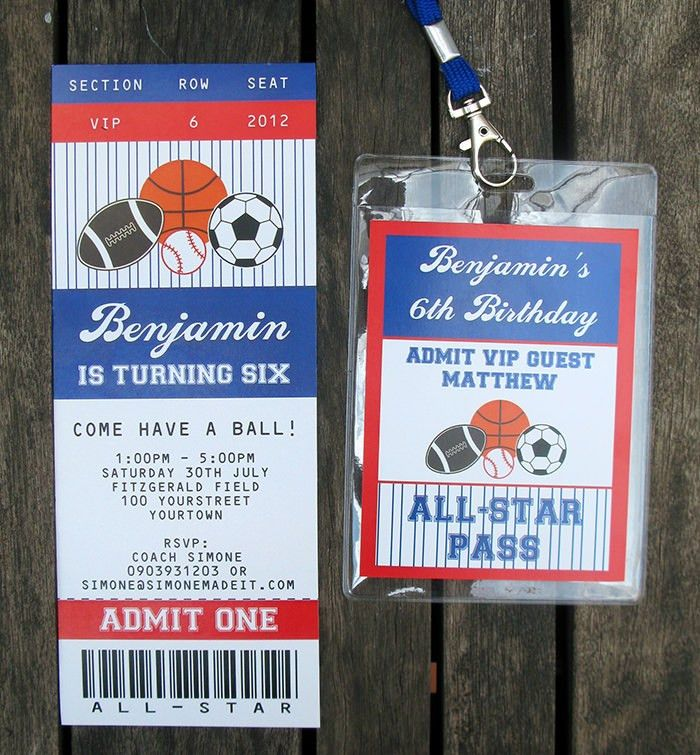 All Star Ticket Invitations | Party Decorations