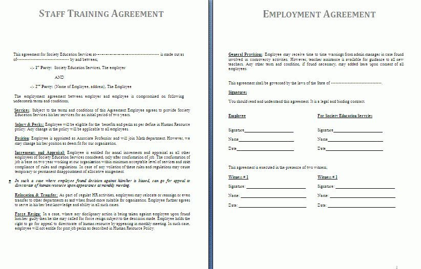 Employee Training Contract Sample Training Contract Template