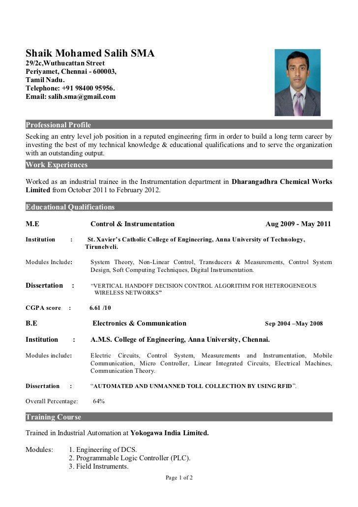 Resume format for freshers ms word