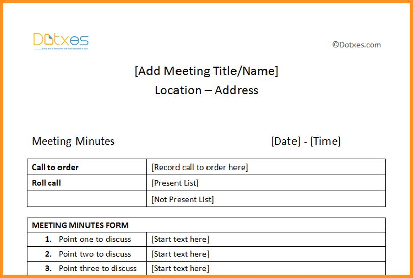 6+ minute meeting format | cook resume