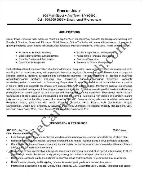 resume sample chief financial officer page 2. sample resume cfo ...