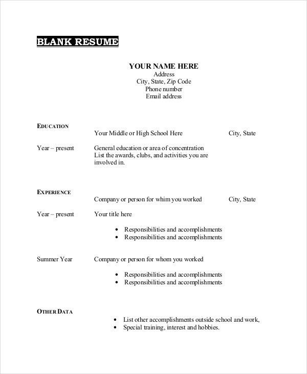 Blank Resume Templates. Resume Templates Free Download | Sample ...