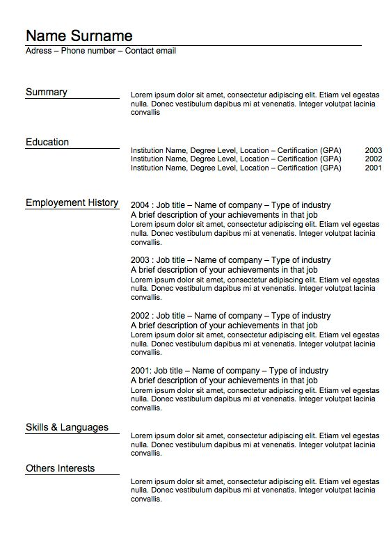 Resume templates word / Classic Resume 5 | Examples Of Resumes