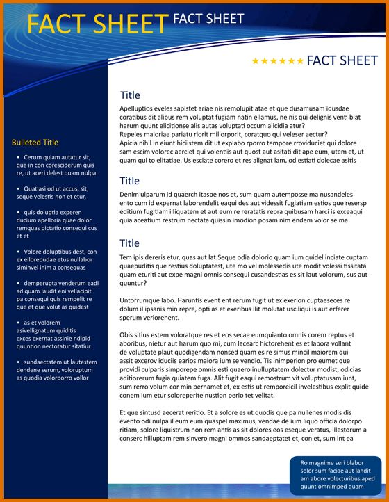8+ fact sheet template wordReference Letters Words | Reference ...