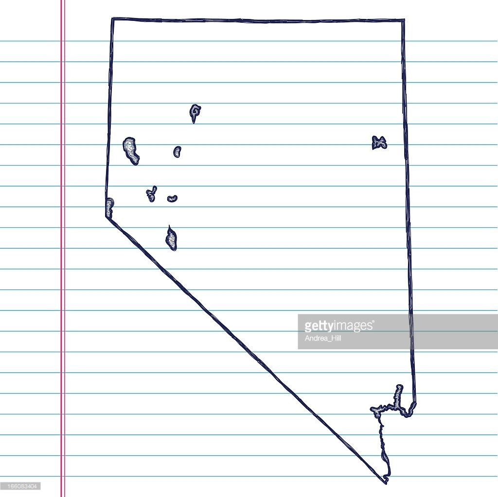 Vector Sketchy Map On Aged Lined Paper Background Nebraska Vector ...