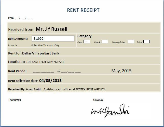 Property Rent Receipt Templates for MS Word & Excel | Receipt ...
