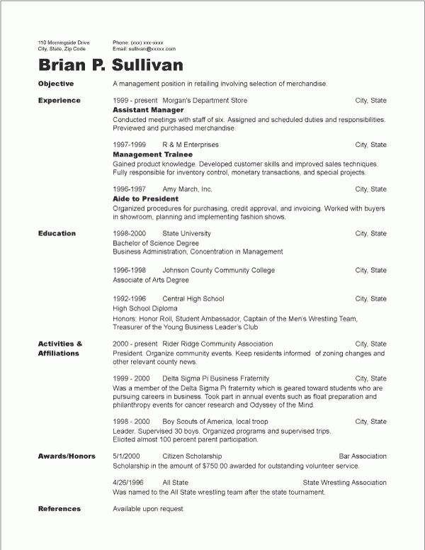 Chronological Resume Sample | RecentResumes.com