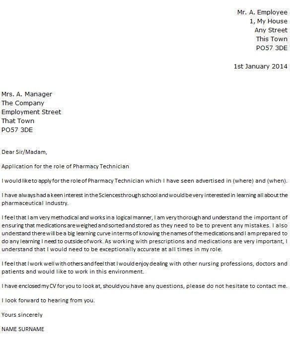 Pharmacy Technician Cover Letter | articleezinedirectory