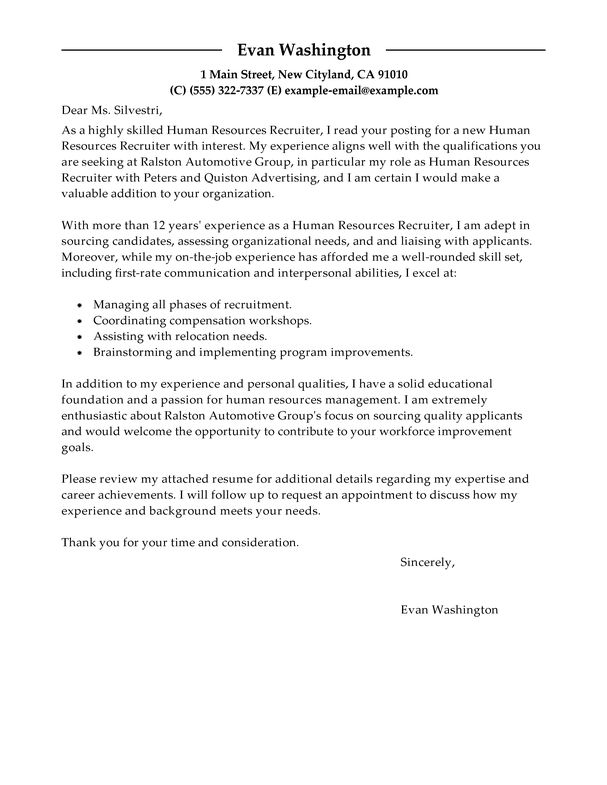 cover letter examples for human resources