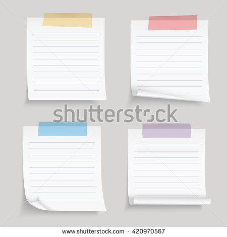 Paper Tape Blank Lined Paper Notes Stock Vector 420970567 ...