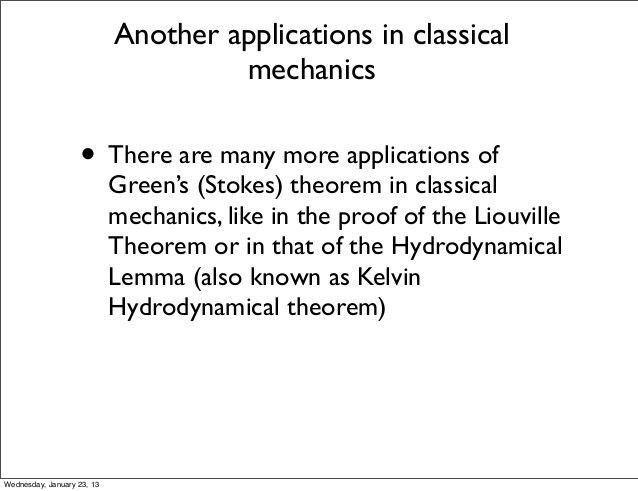 Green's theorem in classical mechanics and electrodynamics
