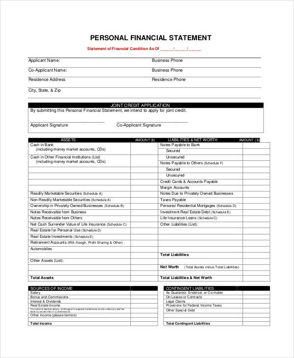 Personal Financial Statement Form - 7+ Free PDF, Word Documents ...
