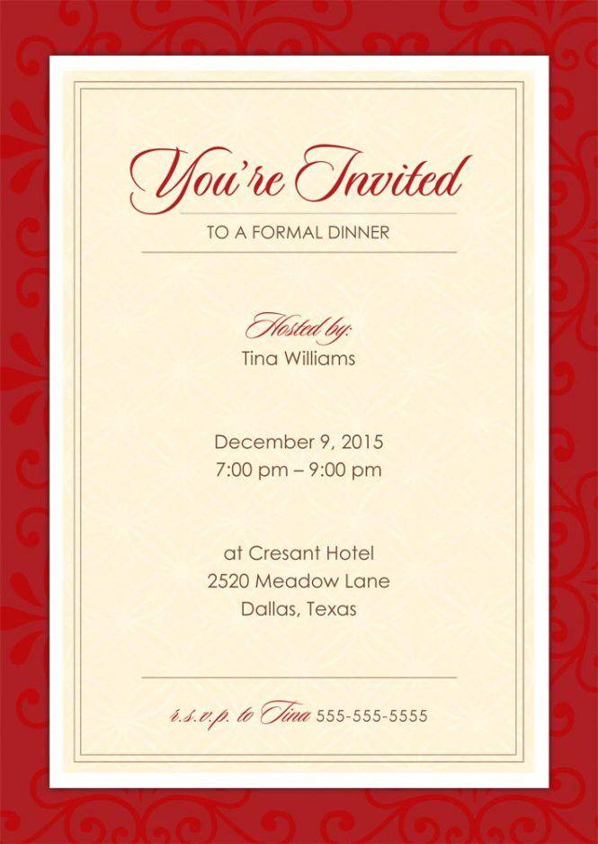 Formal Dinner Party Invitation Template Free - Wedding Invitation ...
