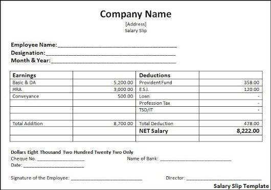 SAMPLE SALARY SLIP FORMAT IN EXCEL WORD TEMPLATE