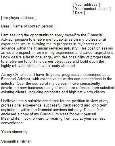 financial advisor cover letter entry level | Docoments Ojazlink