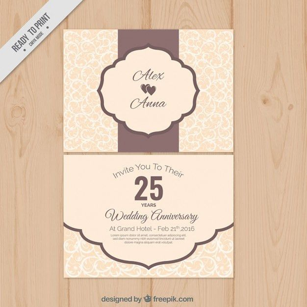Cute vintage wedding anniversary card Vector | Free Download