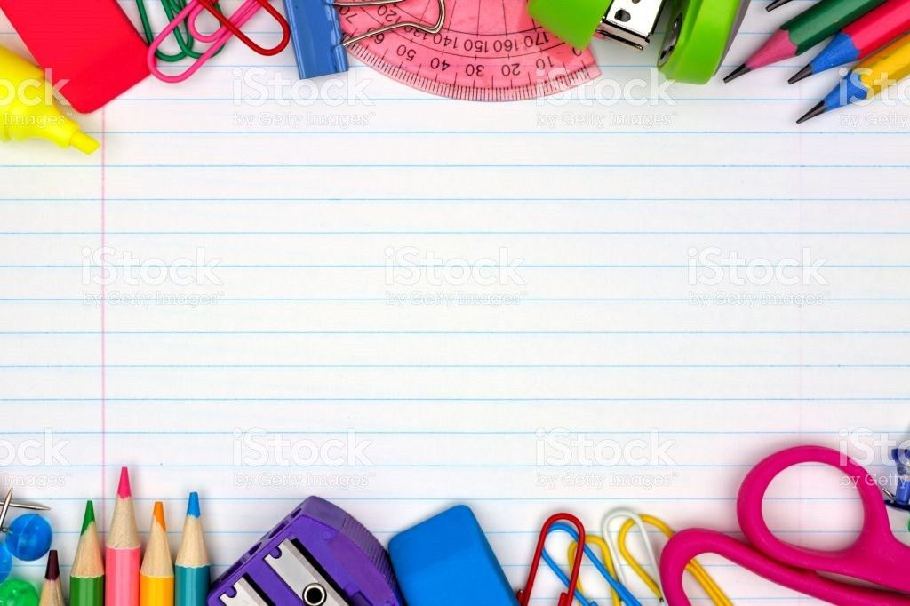 School Supplies Double Border On Lined Paper Background stock ...