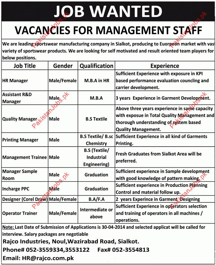 HR Manager, R&D Manager, Quality Manager, Operator Trainee ...