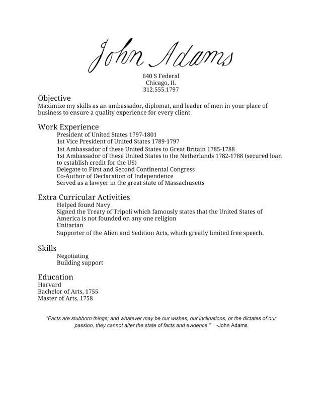John Adams' Resume - I Made America