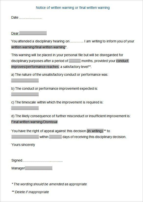 20+ Disciplinary Letters Templates | HR Templates | Free & Premium ...