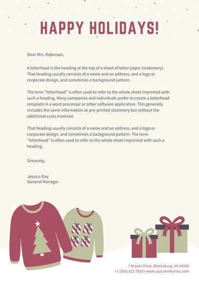 Red and Green Illustrated Christmas Letterhead - Templates by Canva