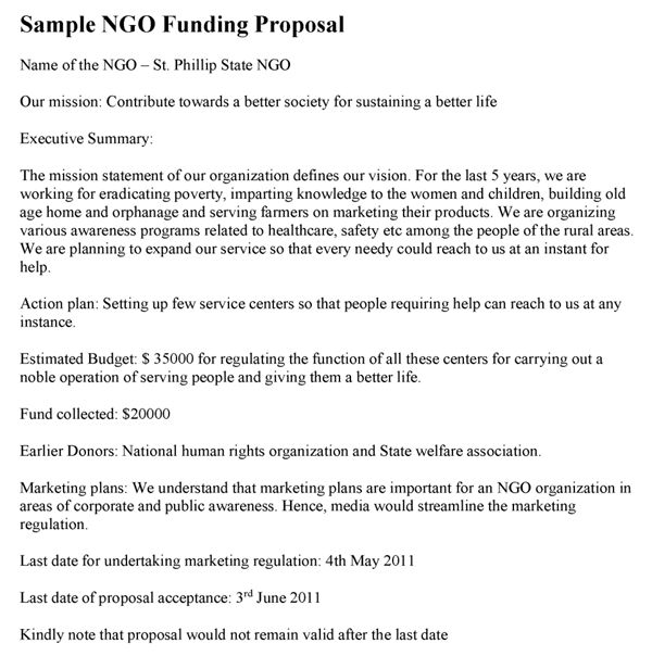 NGO Funding Proposal Template