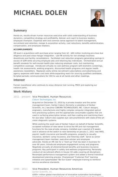 Vice President, Human Resources Resume samples - VisualCV resume ...