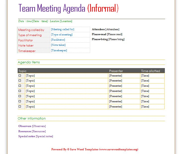 Team Meeting Agenda Template | Save Word Templates
