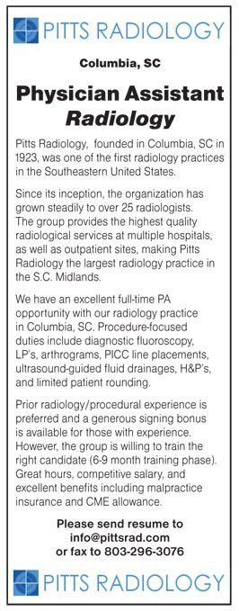 Physician Assistant Radiology job in Columbia South Carolina ...