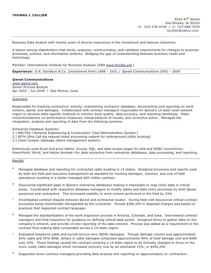 resume of a business analyst