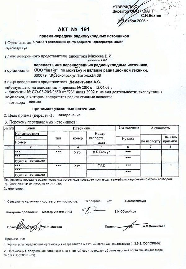 Delivery-Acceptance Certificate for radionuclide sources from ...