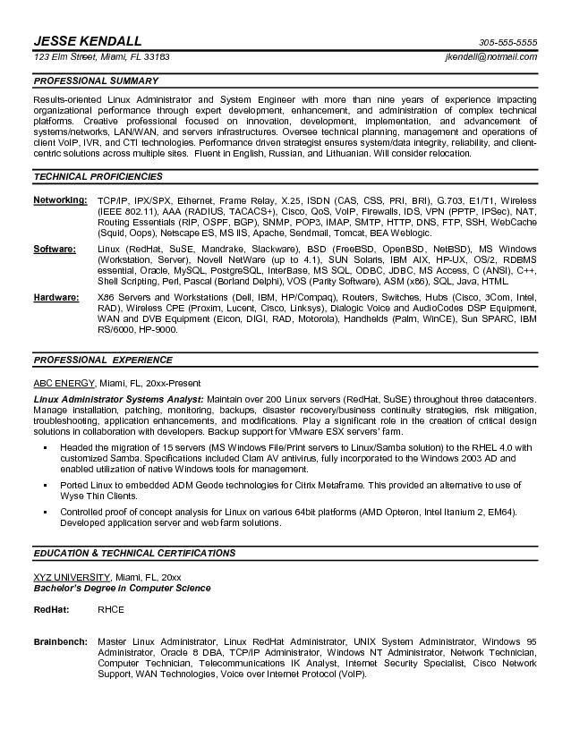 Sample Resume Junior System Administrator - Augustais