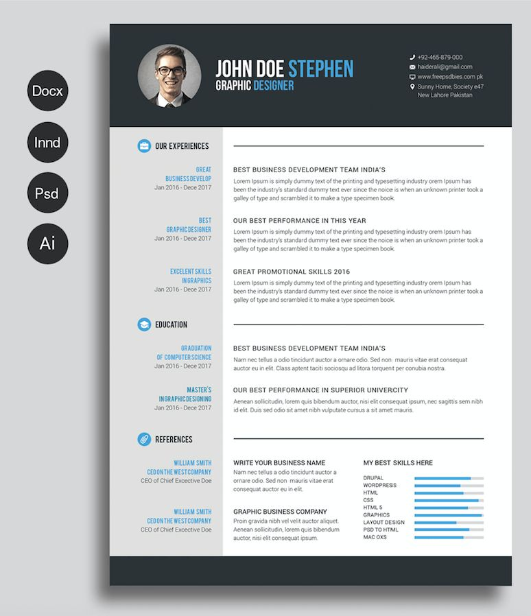 40 Best Free Resume Templates 2017 PSD, AI, DOC | Free printable ...