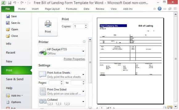 Free Bill of Lading Form Template for Excel