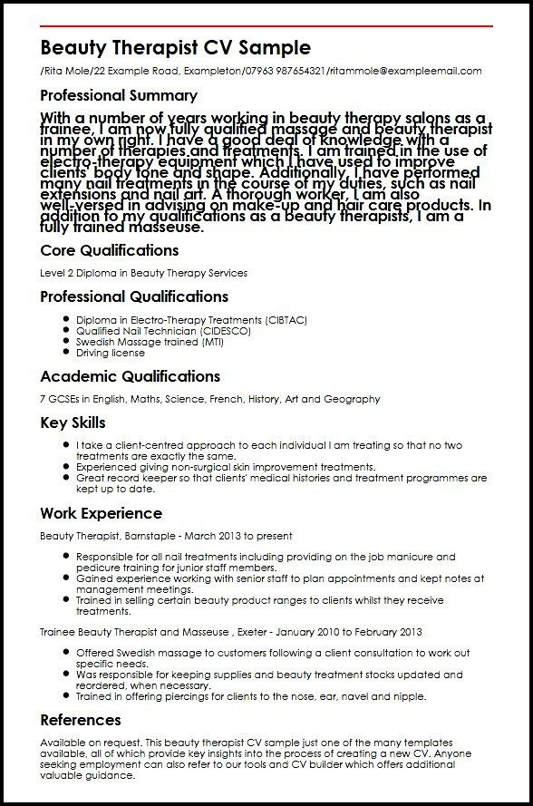 9 Beauty Therapist CV Sample Resume beauty therapist cover letter ...