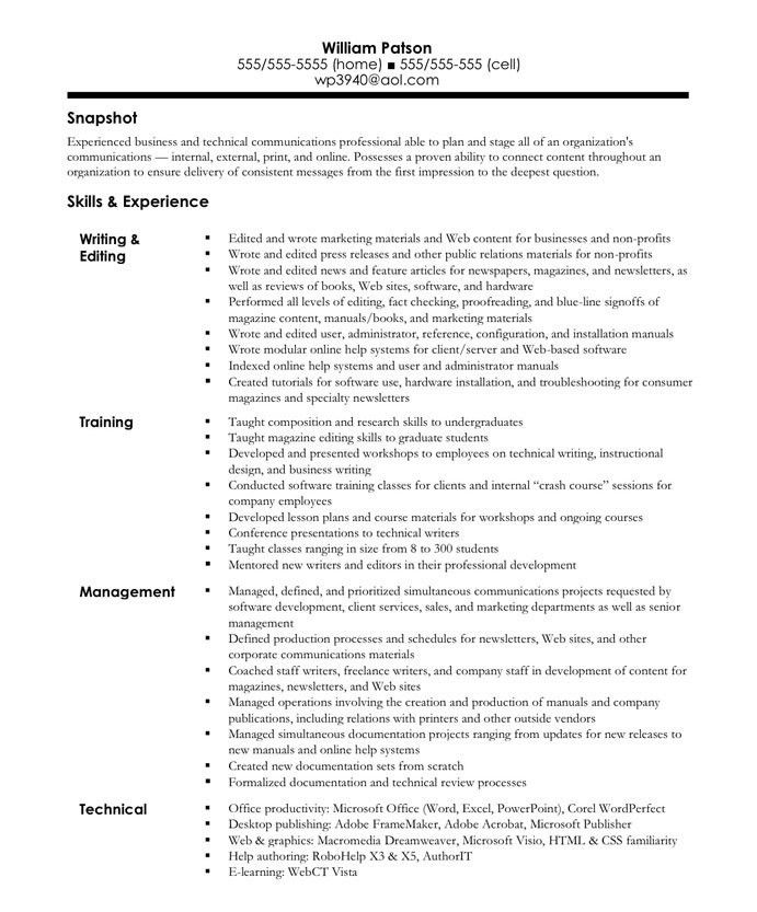 Writer/Editor | Free Resume Samples | Blue Sky Resumes
