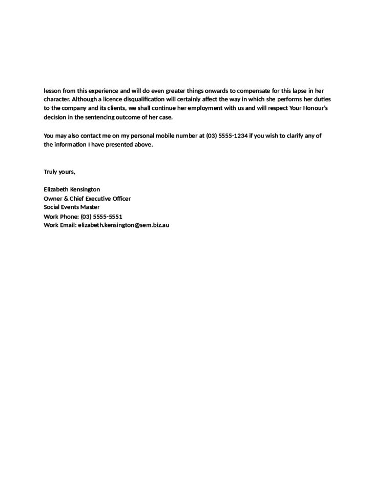 Sample Character Reference Letter for Court by an Employer Free ...