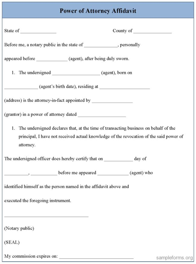 Impressive Power of Attorney Affidavit Form Template with Blue ...