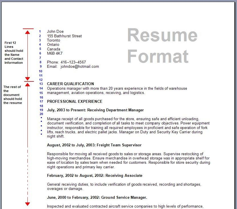 Example Resume Format. Sample Bcom Graduate Resume Template ...