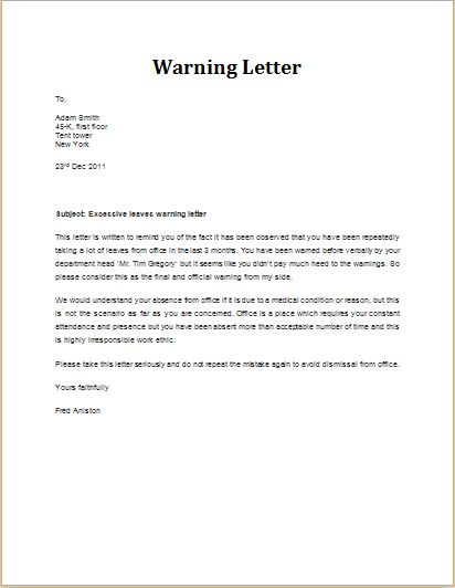 7 Professional Warning Letter Templates | Formal Word Templates